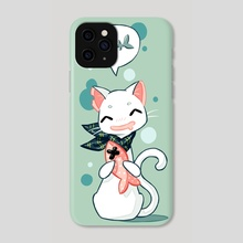 Cat and Fish 2 - Phone Case by Indré Bankauskaité