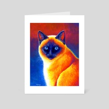 Jewel of the Orient - Colorful Siamese Cat - Art Card by Rebecca Wang