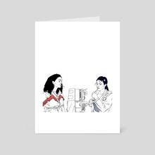 Two Girls Peer Pressuring a Small Zamboni - Art Card by Ryan McCown