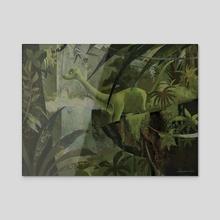 Dinosaur In The Jungle - Acrylic by Greg Abbott