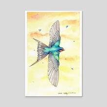 Barn Swallow in Flight at Sunset - Acrylic by Melissa Kelley