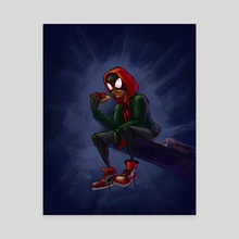 Miles Morales Eating Pizza in the Spider-Verse - Blue Background - Canvas by Kindalikesorta Efrain
