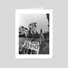 Tourist on Westminster Bridge (b/w) - Art Card by georgia.nna