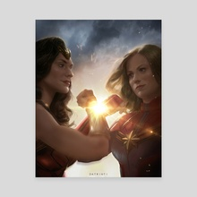 Wonder woman clashes with Captain Marvel - Canvas by Tiago Ribeiro