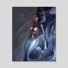 Blue Ocean Mermaid - Acrylic by Sandra Winther
