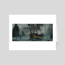 Lone ship - Art Card by Janos Tokity