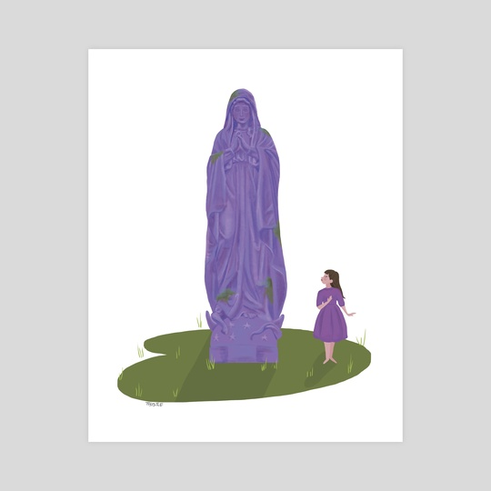 Our Lady's Garden Statue - purple by a creative almanac