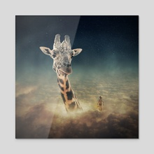 sky giraffe - Acrylic by Even Liu