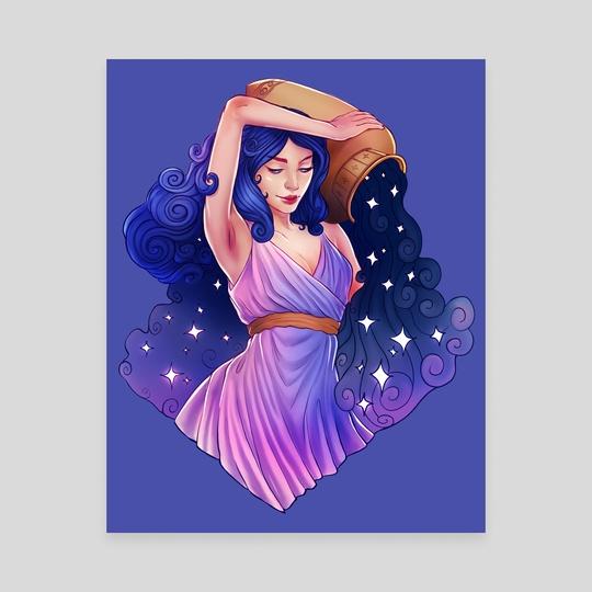 Aquarius Zodiac Sign - Purple by Serena Archetti