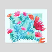 Joy! Floral Watercolor - Canvas by Modern Tropical
