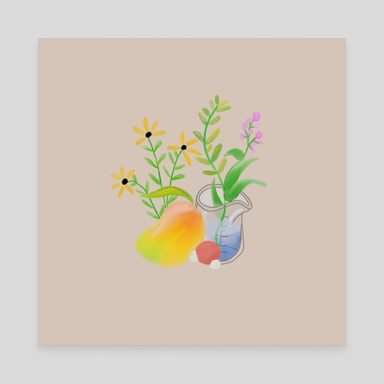 Floral Illustration with Mango by Doodles In The Membrane