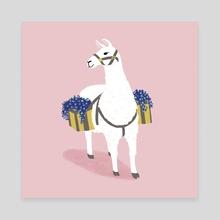 Flower Llama - Canvas by a creative almanac