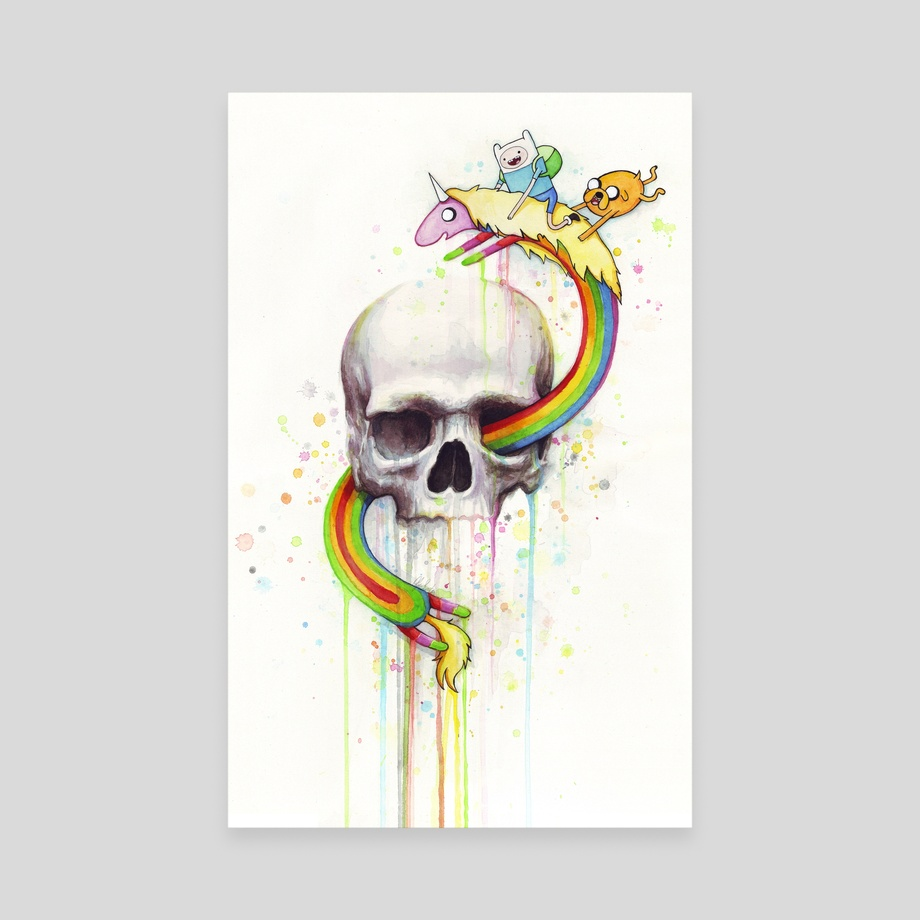 Adventure Time Skull Watercolor | Adventure through Time and Face, an art  canvas by Olga Shvartsur