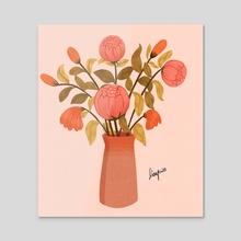 flowers  - Acrylic by Dian Pu