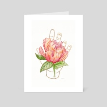 Peony - Gold (Gilded Hands Series) - Art Card by Catherine Herold