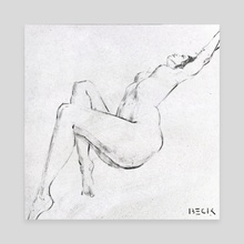 Nude drawing charcoal - Canvas by Beckzod Abdullaev