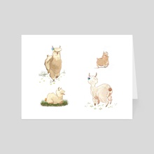 Boots and Booties Alpacas - Art Card by Arienne Boley