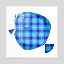 Plaid Blue Flounder - Acrylic by Scott Partridge