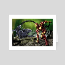 Iron Man vs. Alien - Art Card by Pete Tapang