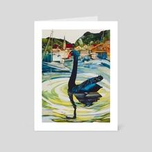 Black Swan of Bavaria, Tegernsee - Art Card by Trish Crowe