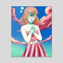 Alien girl - Acrylic by VeenaVal