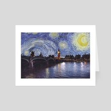 Starry Night Over London England - Art Card by Anthony Londer