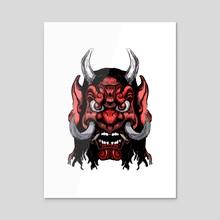 Demon Face RedMask - Acrylic by Emanuele Califano Lidak