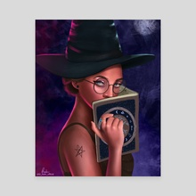 Lucinda the moon witch - Canvas by Tosin Kadiri