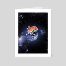 Environmental Concept Life is Fragile Earth Egg  - Art Card by Kitty Bitty