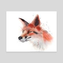 Fox portrait - Canvas by Olga Shefranov (PaintisPassion)