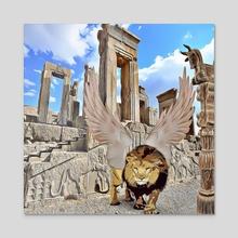 persian lion - Acrylic by aliasghar shabani
