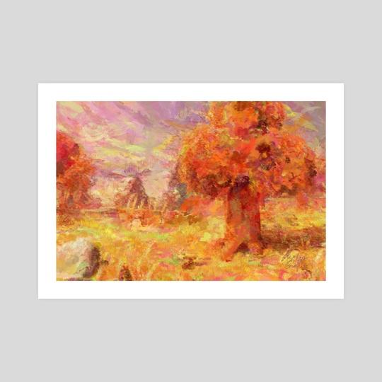 Animal Crossing: New Horizons Autumn Trees Impressionist Painting by Bridget Garofalo