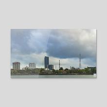 Hue's Skyline. - Acrylic by Parag Phadnis