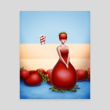 Tooth and Strawberry - Canvas by Luz Tapia