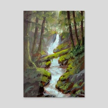 Mossy Forest Stream in Gouache - Acrylic by Ed  Pulella