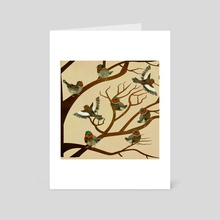 A choir of birds on a tree - Art Card by Michal Eyal