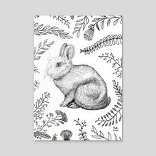 Rabbit and plants - Acrylic by Marta Rivera