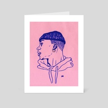 Blue Pen Portrait - Art Card by French Kate