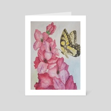 Hydrangea Visitor - Art Card by Kallie Hunchman