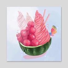Watermelon Bowl - Acrylic by Andalinart