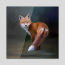 Red Fox #2 - Acrylic by Petur Orn  Petursson