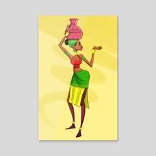Lady with a pot - Acrylic by JeffRey  Onyango
