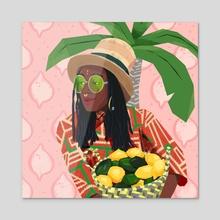 Citrus Shopping - Acrylic by Keisha Okafor