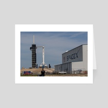 SpaceX Crew Demo 1 - On the Pad 1 - Art Card by Jon Galed