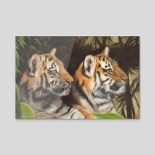 Tiger Cubs - Acrylic by Richard Macwee