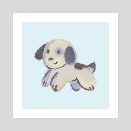 Impasto Puppy - Cute Kawaii Kids Children Baby Nursery Dog Painting Art by Bridget Garofalo