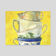 Tea Cups - Canvas by Suzanne Nikolaisen