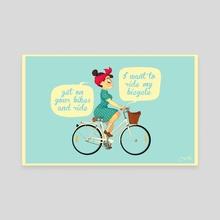 bike girl - Canvas by Melissa Ballesteros Parada
