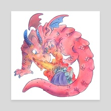 Dragon Fight! - Canvas by Skullboy