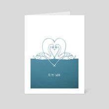 Be My Swan blue - Art Card by Emma Fitzgerald